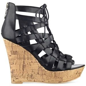 Guess Black Lace Up Wedges Size 9.5